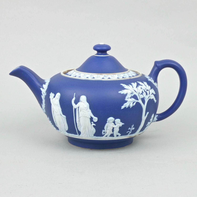 Wedgwood blue jasper teapot