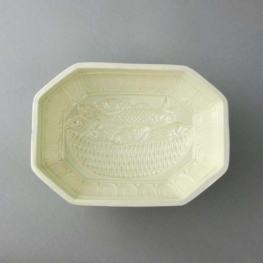 Creamware basket of fish mould