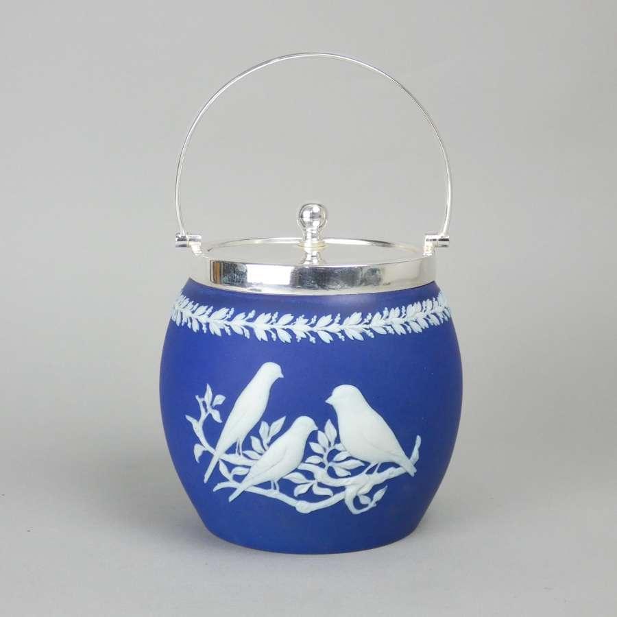 Wedgwood biscuit barrel with bird relief