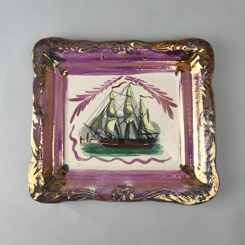 Sunderland plaque with pink & copper lustre border