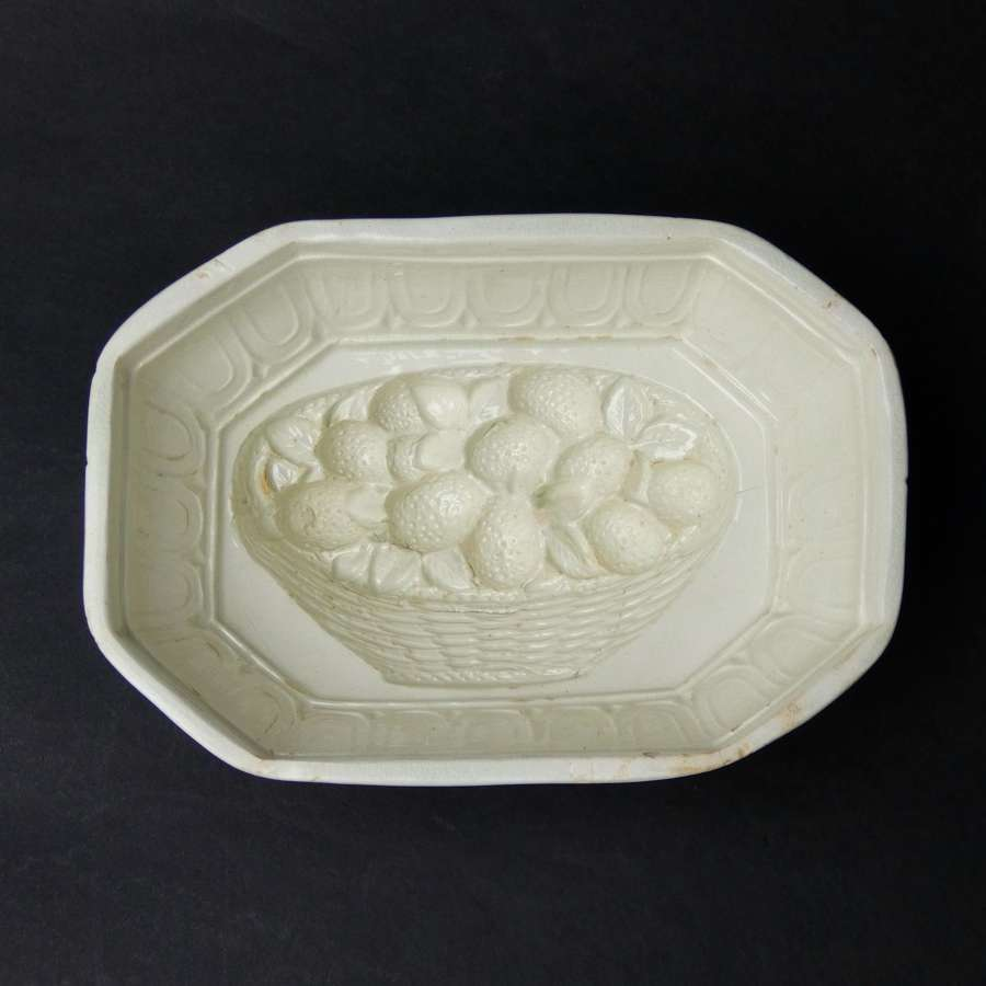 Creamware basket of strawberries mould