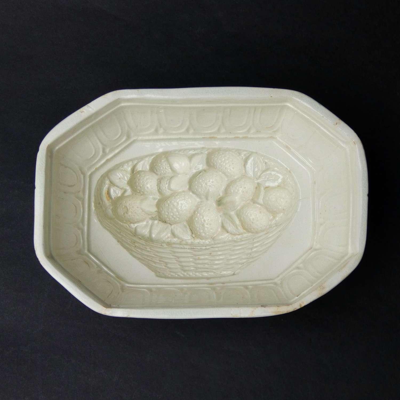 Creamware basket of strawberries mould