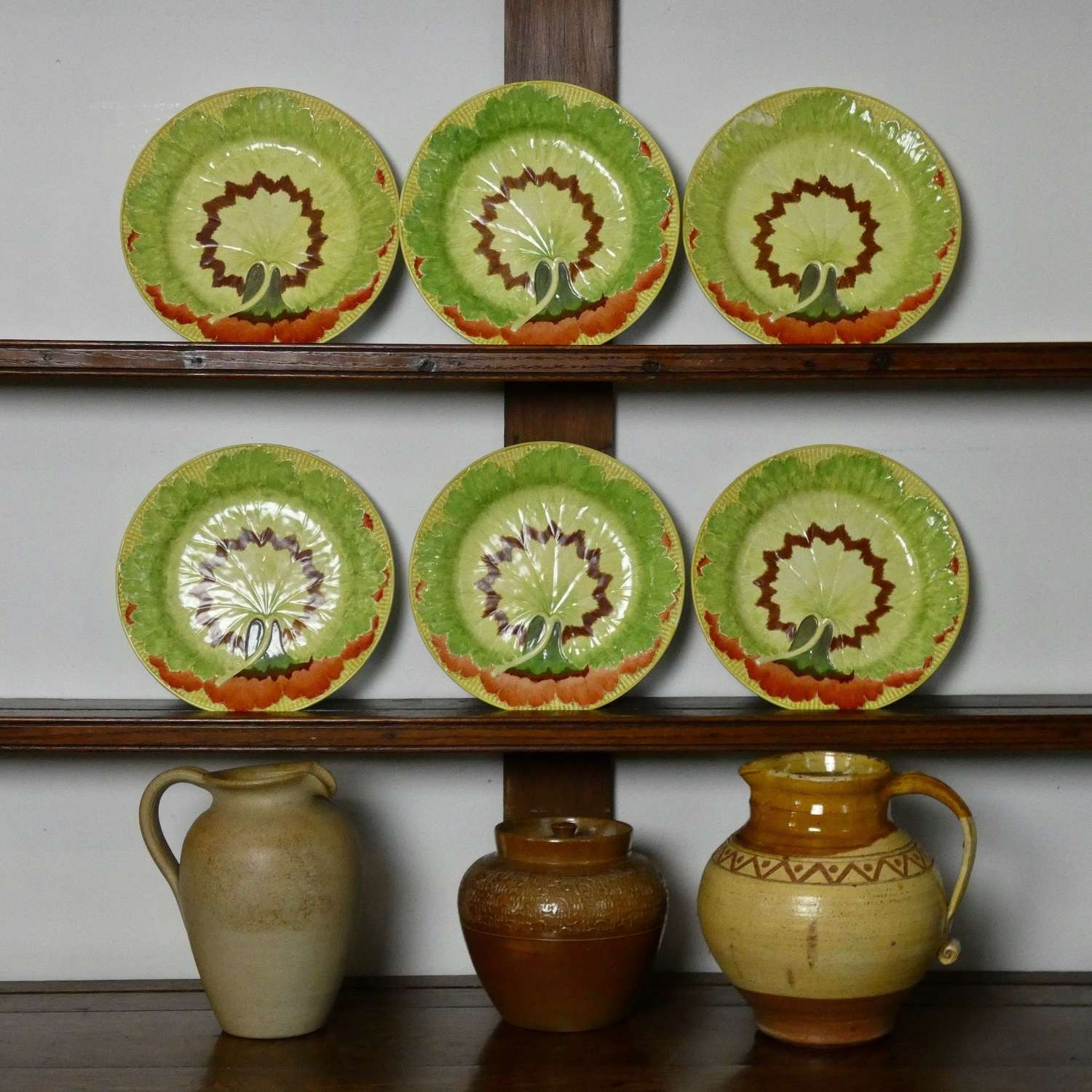 Colourful Wedgwood cabbage leaf plates
