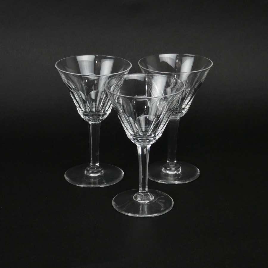 3 Val St. Lambert, crystal wine glasses