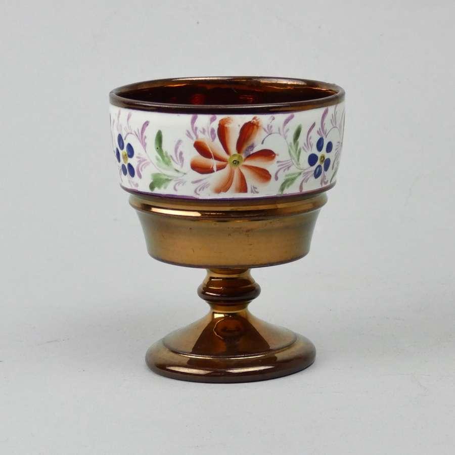 Enamelled copper lustre goblet