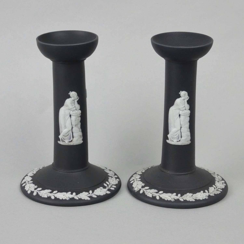 Wedgwood black jasper candlesticks