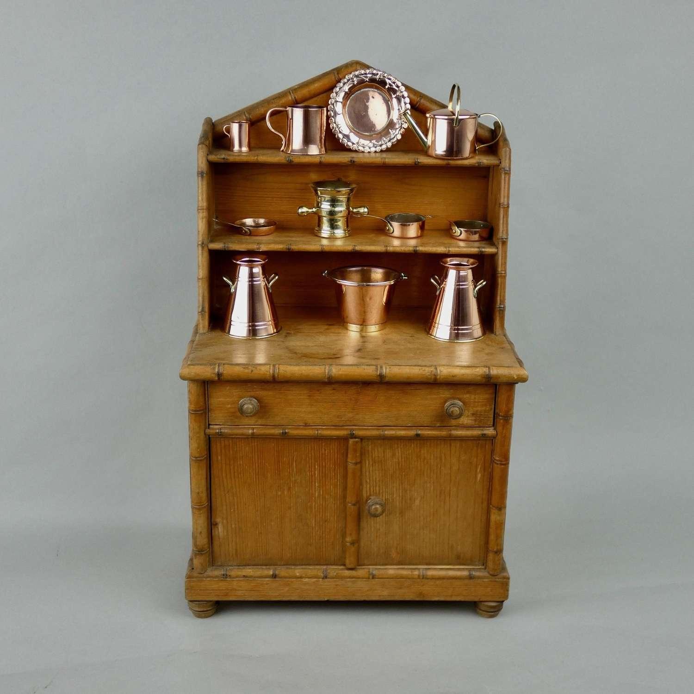 Miniature, faux bamboo dresser
