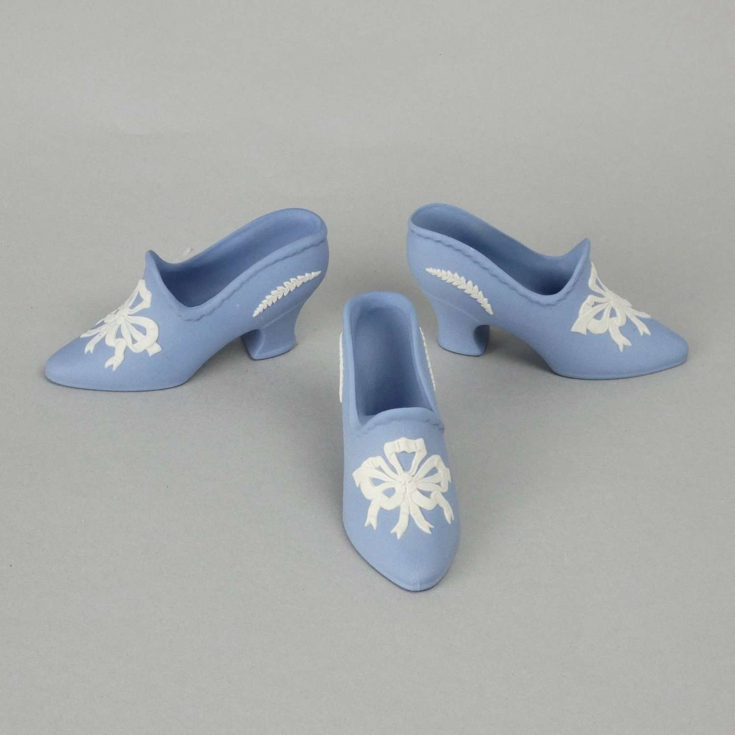 3 Wedgwood miniature shoes