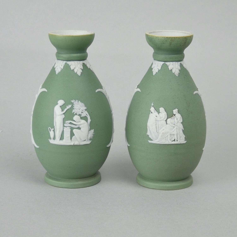 Wedgwood green jasper vases