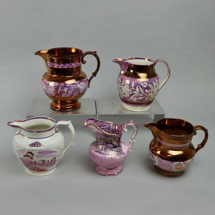 5 Decorative Pink Lustre Jugs