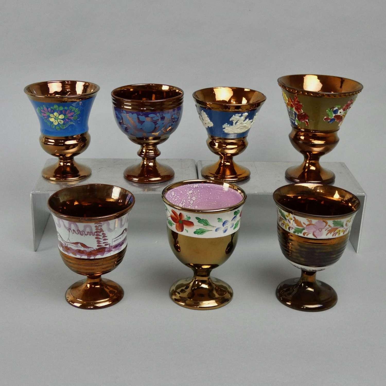 7 Copper Lustre Goblets
