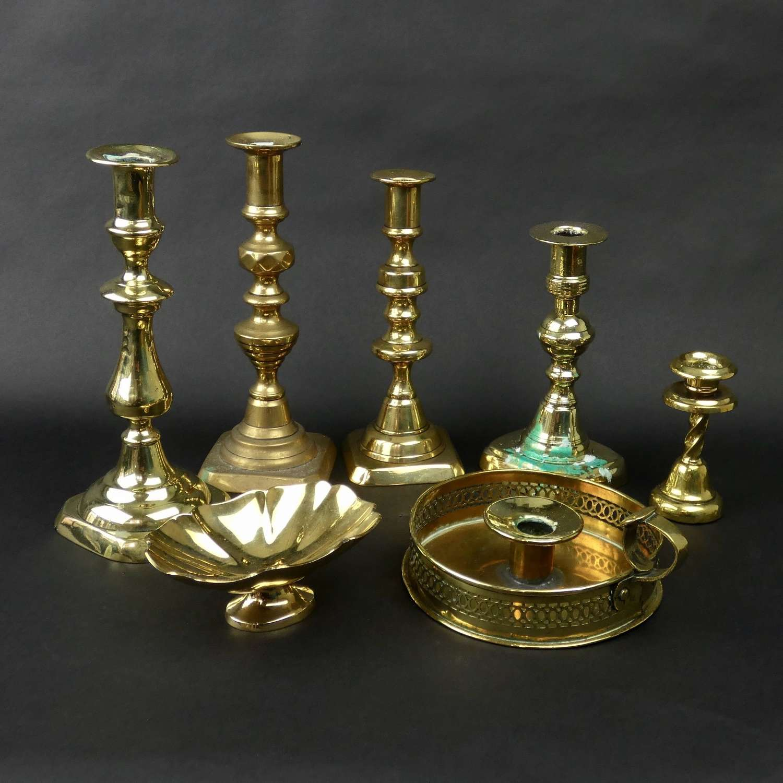 Selection of brass candlesticks
