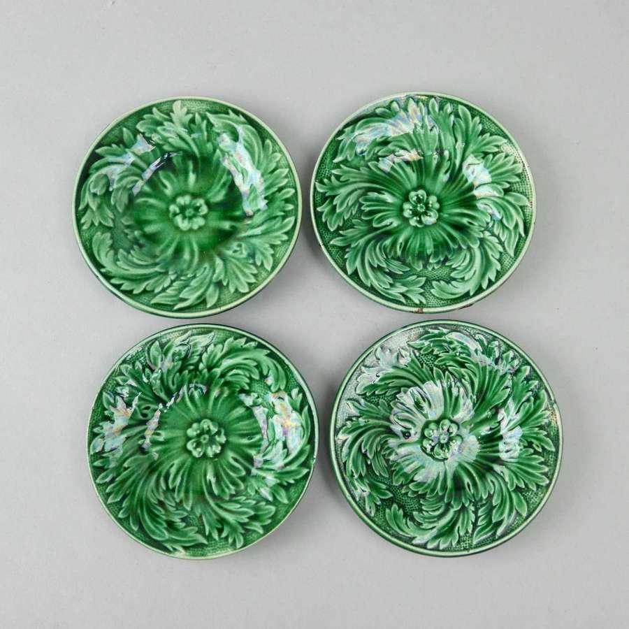Miniature green glaze plates