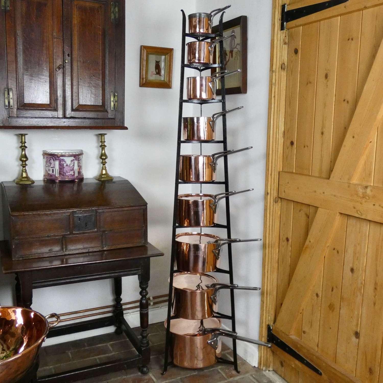 Set of Victorian Copper Saucepans