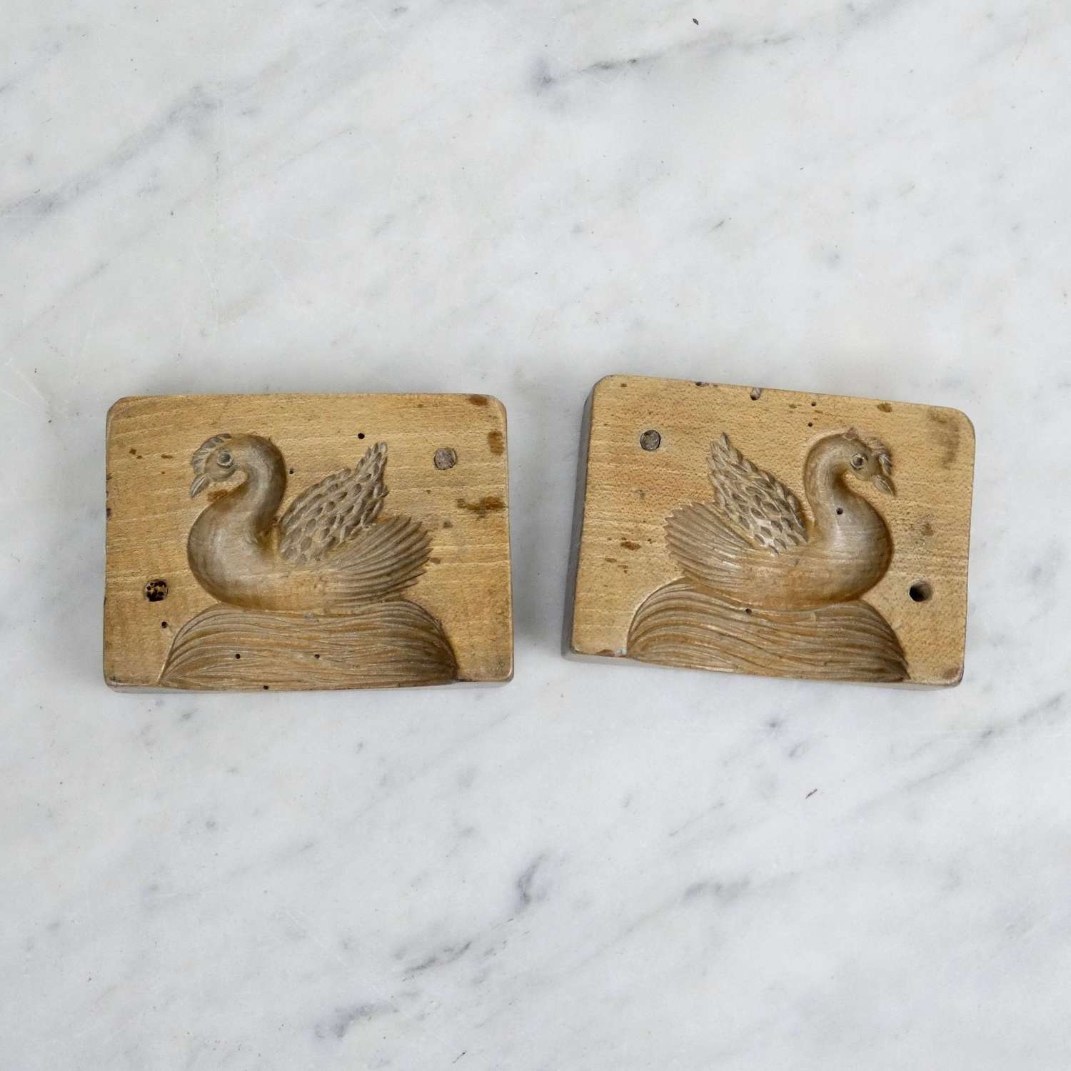 Sycamore butter mould carved with a duck