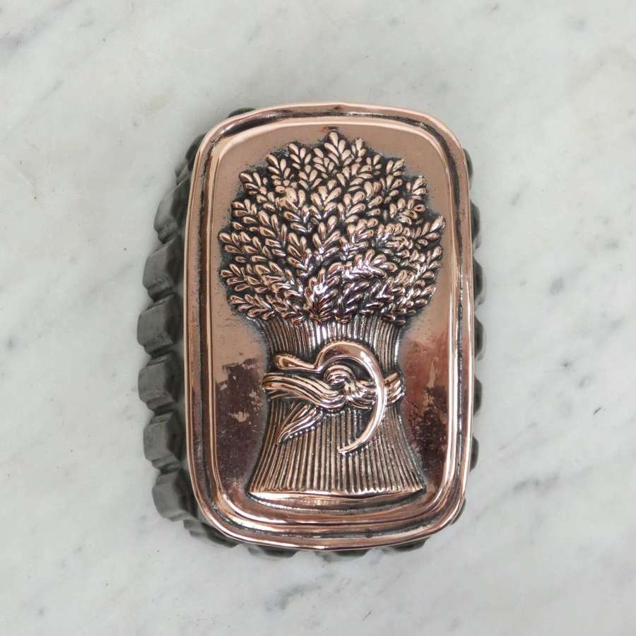 Copper & tin jelly mould with wheatsheaf