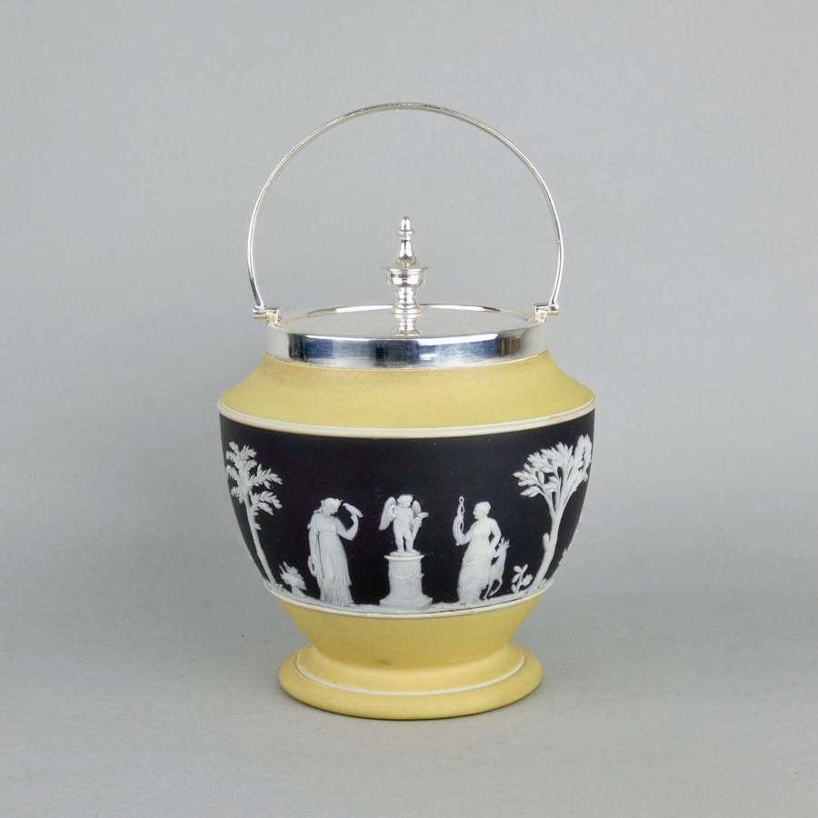 Wedgwood, yellow & black jasper biscuit barrel