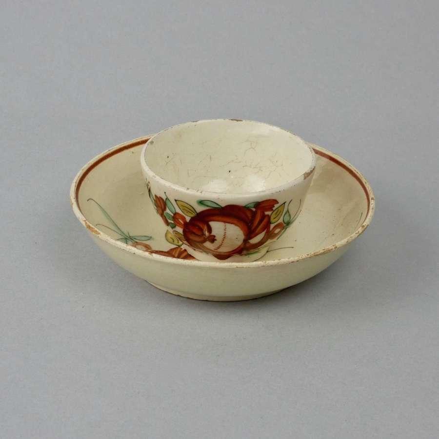 Creamware Teabowl & Saucer