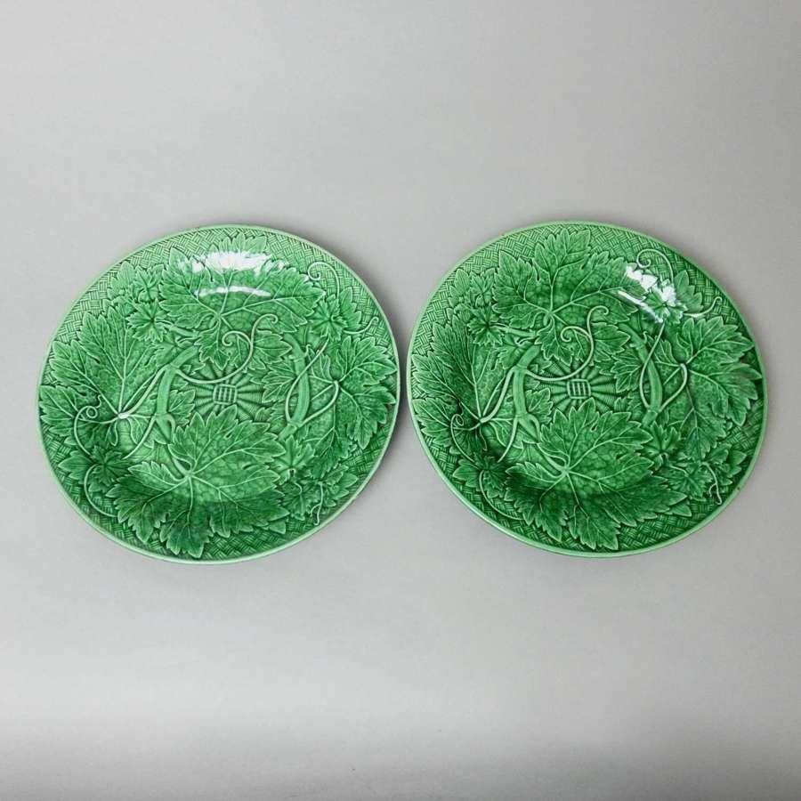 Wedgwood, green majolica, vine leaf plates