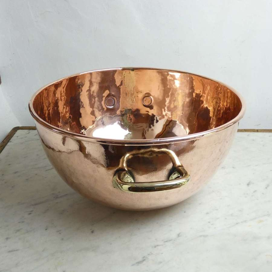 Large, French copper sugar bowl