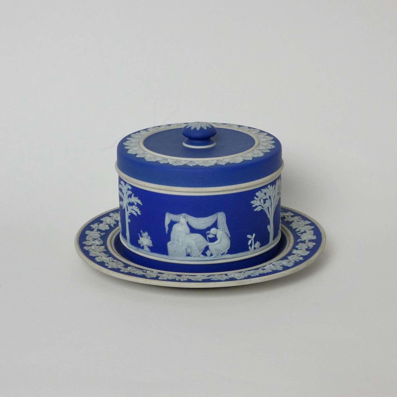 Wedgwood blue jasper butter dish