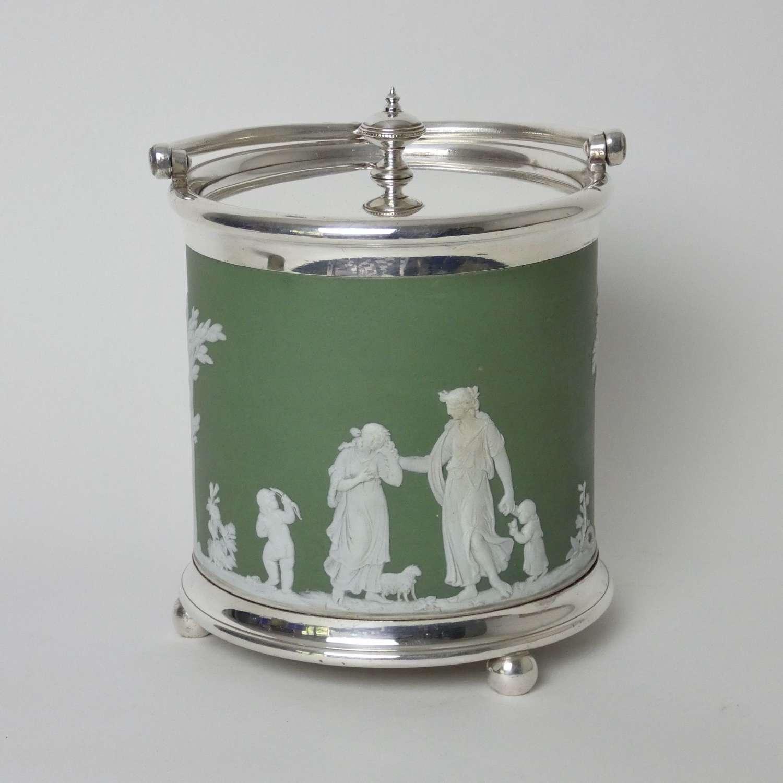 Wedgwood, green jasper biscuit barrel