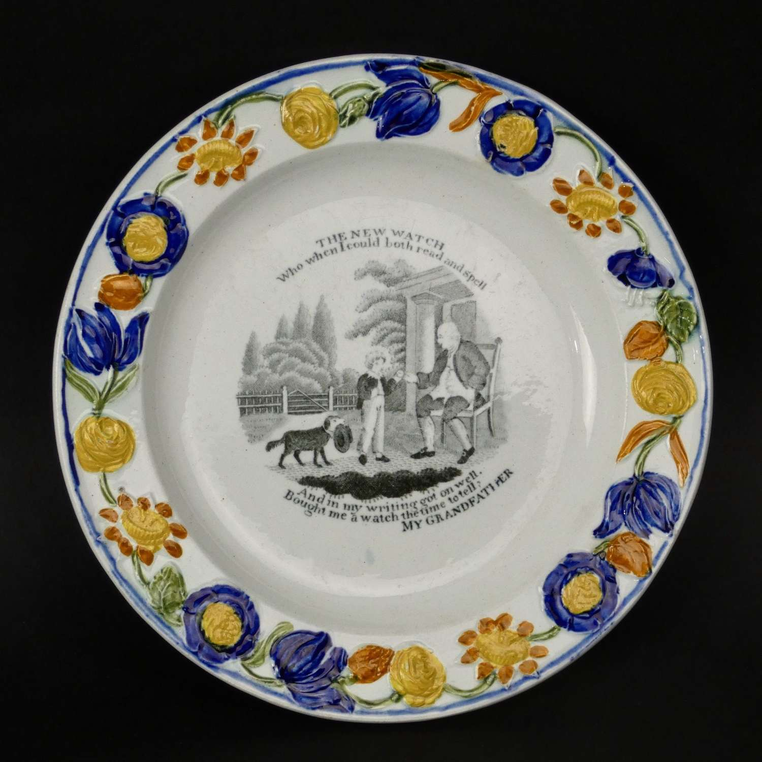 Child's plate with black print