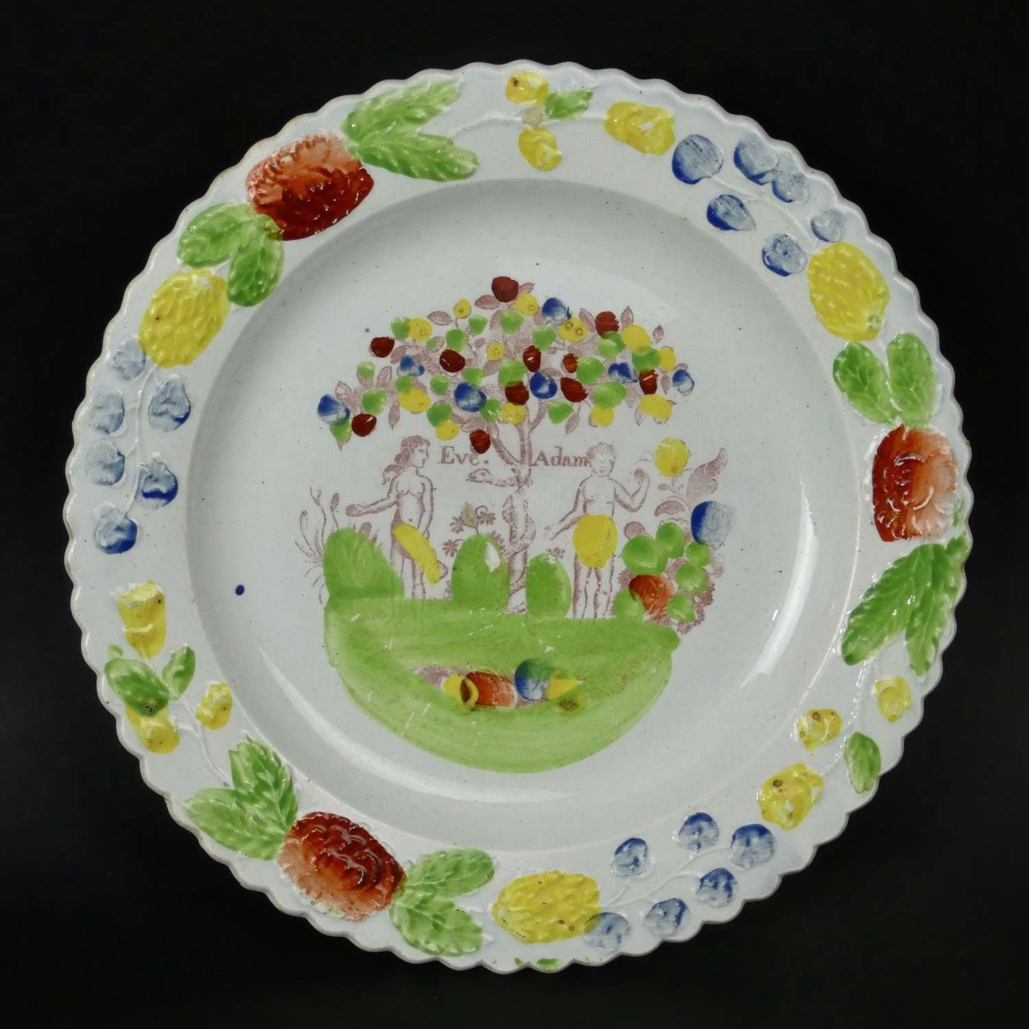 Child's plate printed with Eve & Adam
