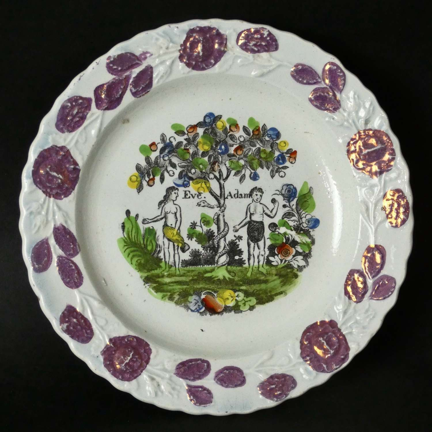 Eve & Adam child's plate with lustre border