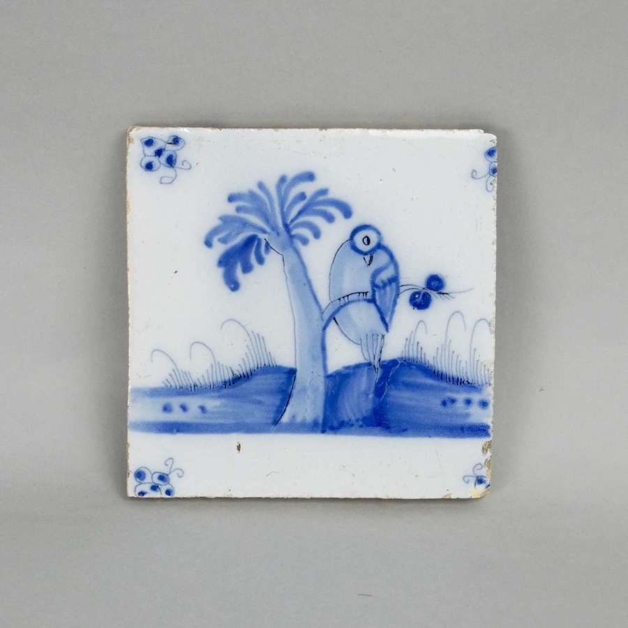 Delft tile painted with a bird