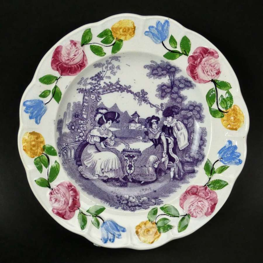 Child's plate with mauve transfer print