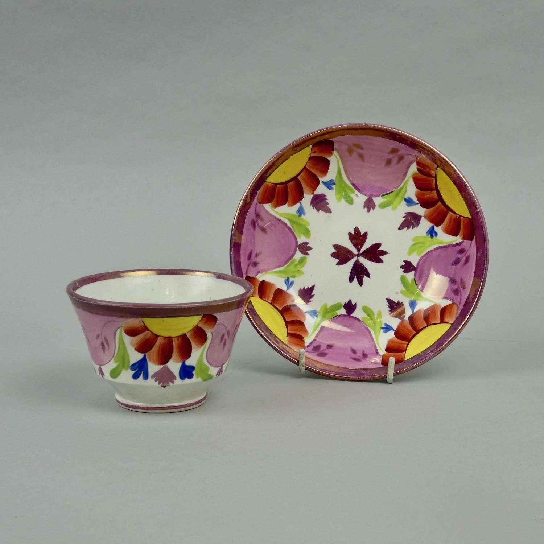 Enoch Wood lustre tea bowl & saucer