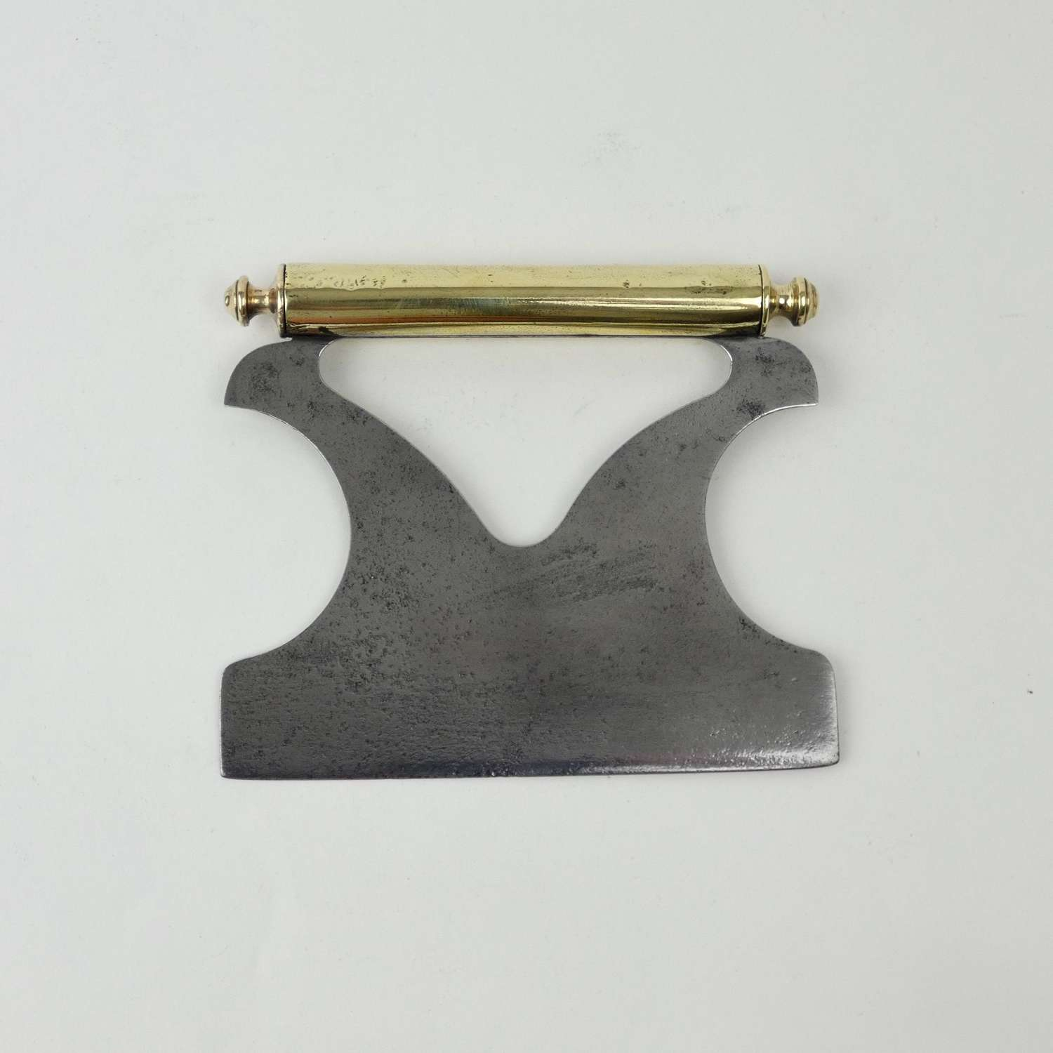 Steel herb chopper with brass handle
