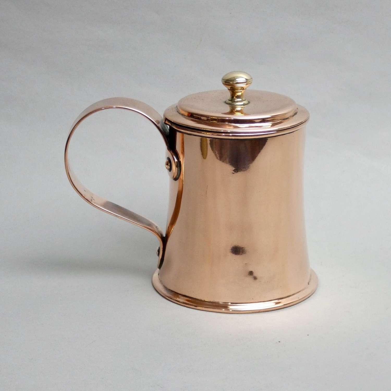 Lidded copper tankard
