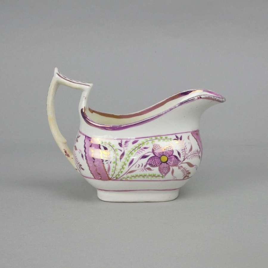 Pink lustre, porcelain creamer