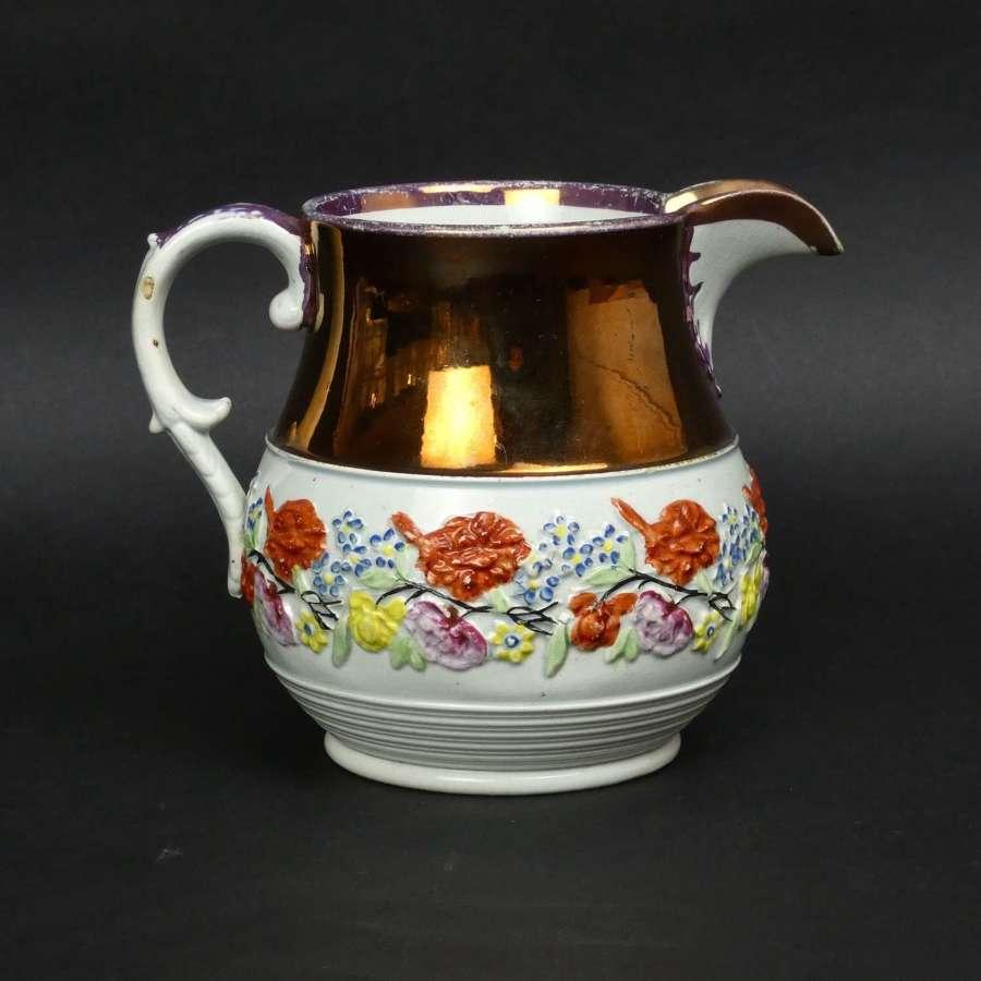 Moulded pearlware jug