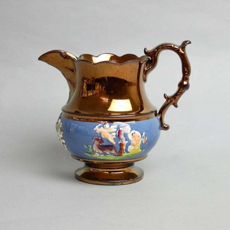 Moulded copper lustre jug