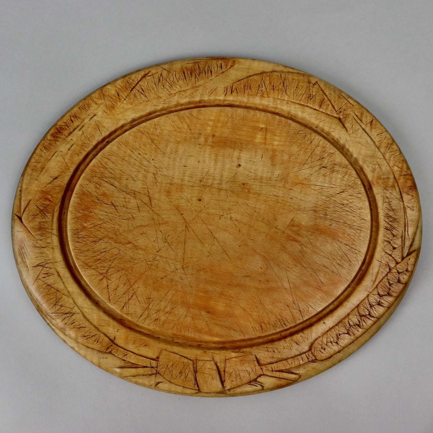 Victorian, oval, carved breadboard