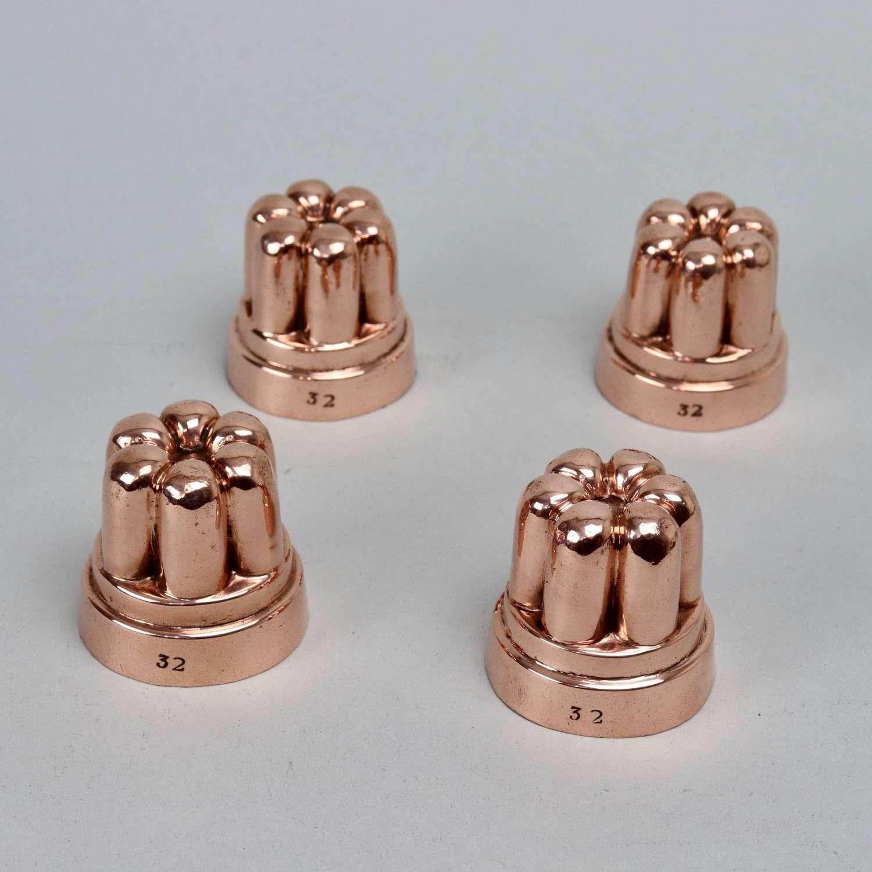 Miniature, fluted, copper moulds