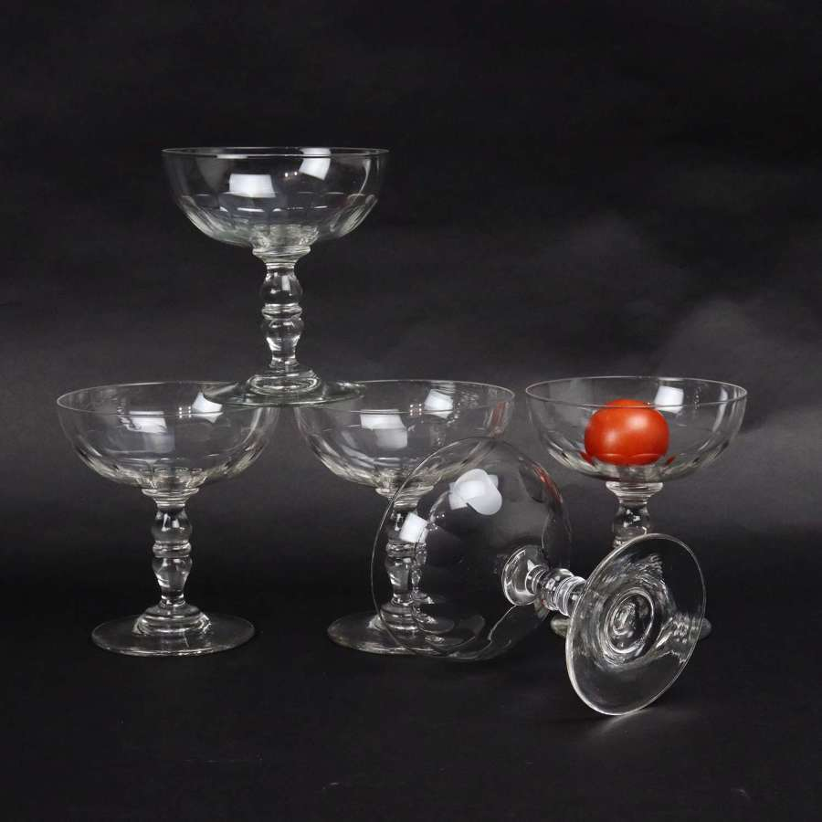 5 French crystal champagne coupes