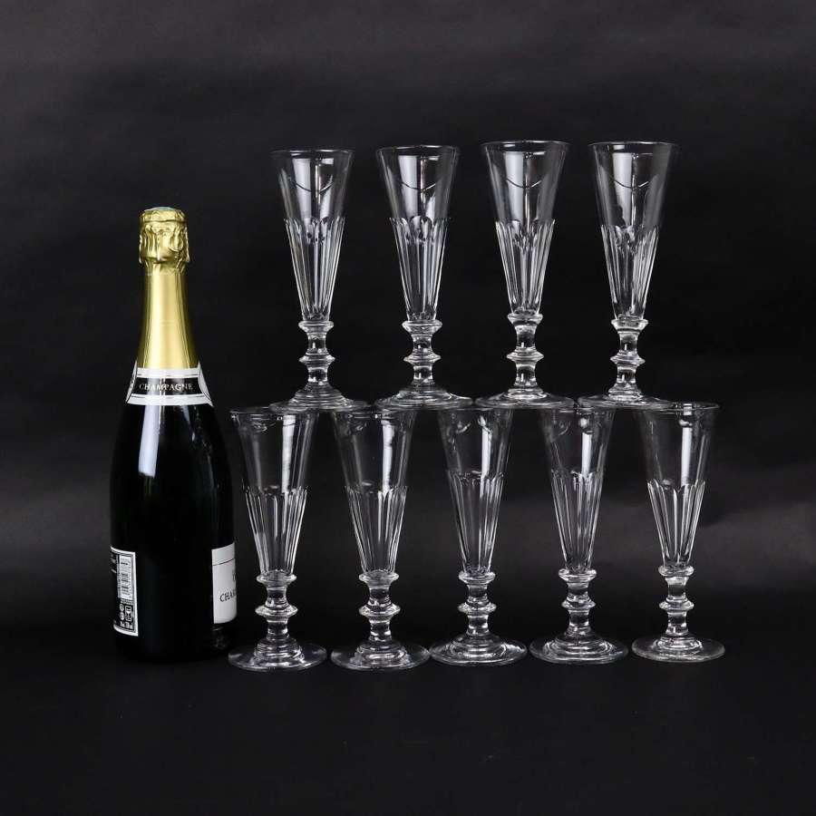 19th century, crystal champagne coupes