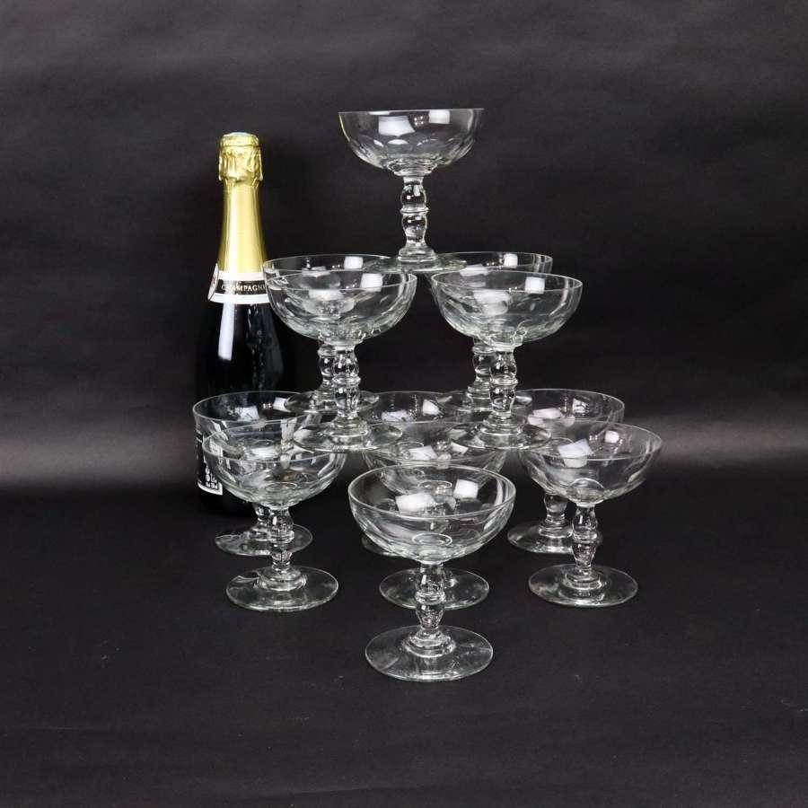 A dozen French champagne coupes